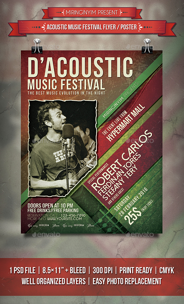 Acoustic Music Festival Flyer / Poster - Events Flyers