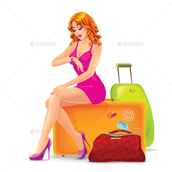 Woman Sitting on a Suitcase - People Characters