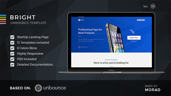 Bright – Unbounce Startup Landing Page