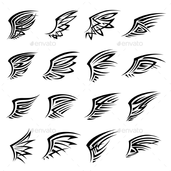 Black Tribal Isolated Wings Icons Or Tattoos - Tattoos Vectors