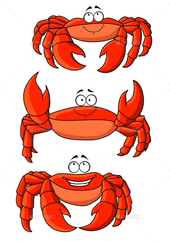 Happy Red Ocean Cartoon Crabs With Large Claws - Animals Characters