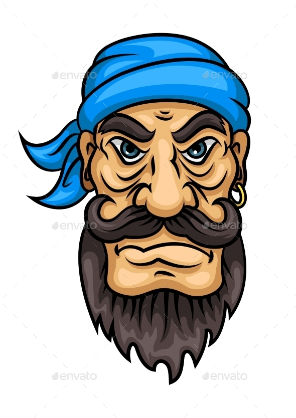 Cartoon Bearded Pirate Sailor Or Captain - People Characters
