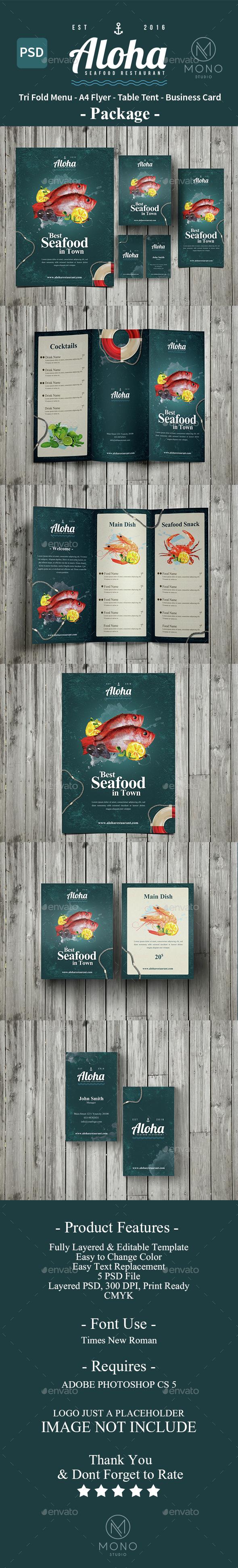 Seafood Menu Package - Food Menus Print Templates