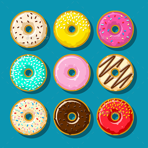 Different Sweet Donuts - Food Objects