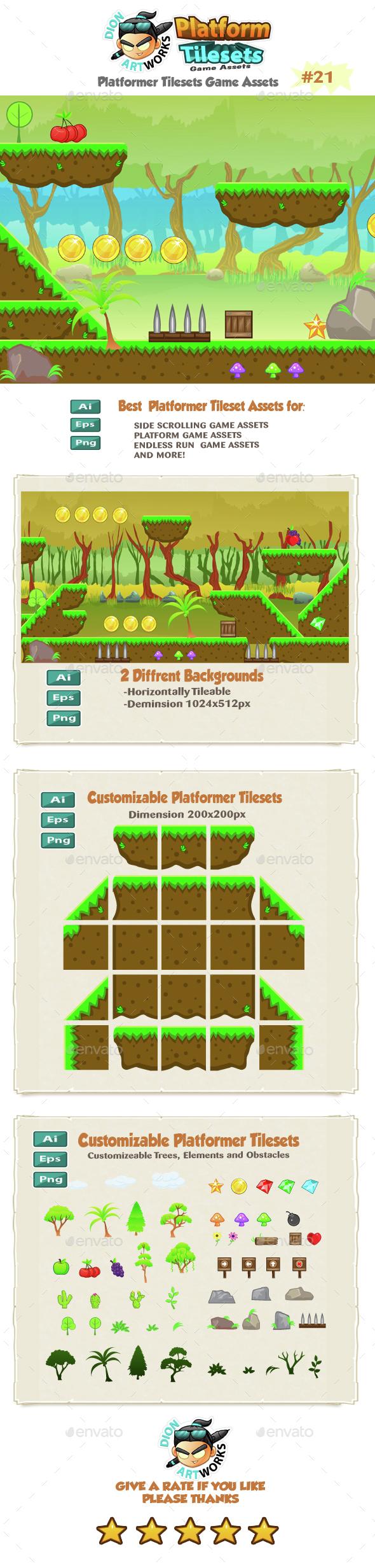 Forest Platformer  Game  Tilesets 21 - Tilesets Game Assets