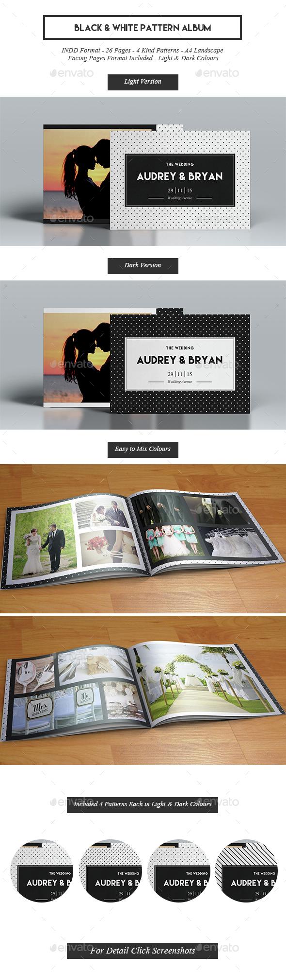 Black & White Pattern Album - Photo Albums Print Templates
