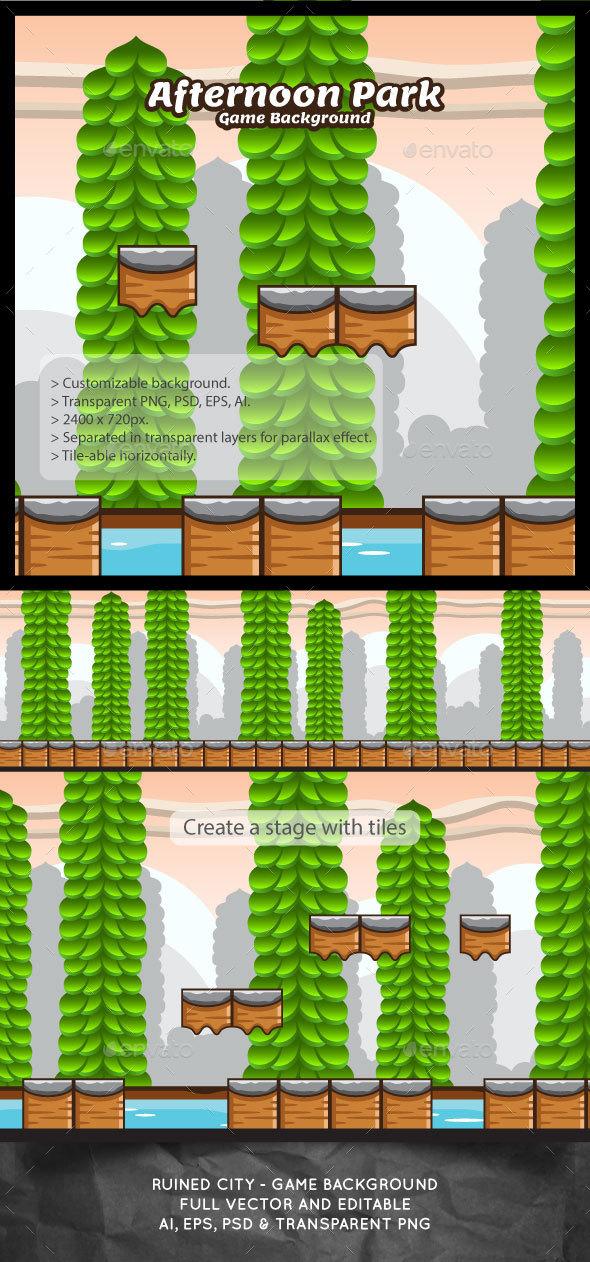 Afternoon Park Game Background with Tiles - Backgrounds Game Assets
