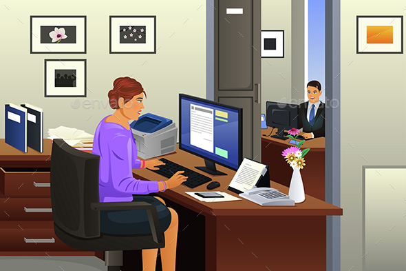 Secretary in the Office - Business Conceptual