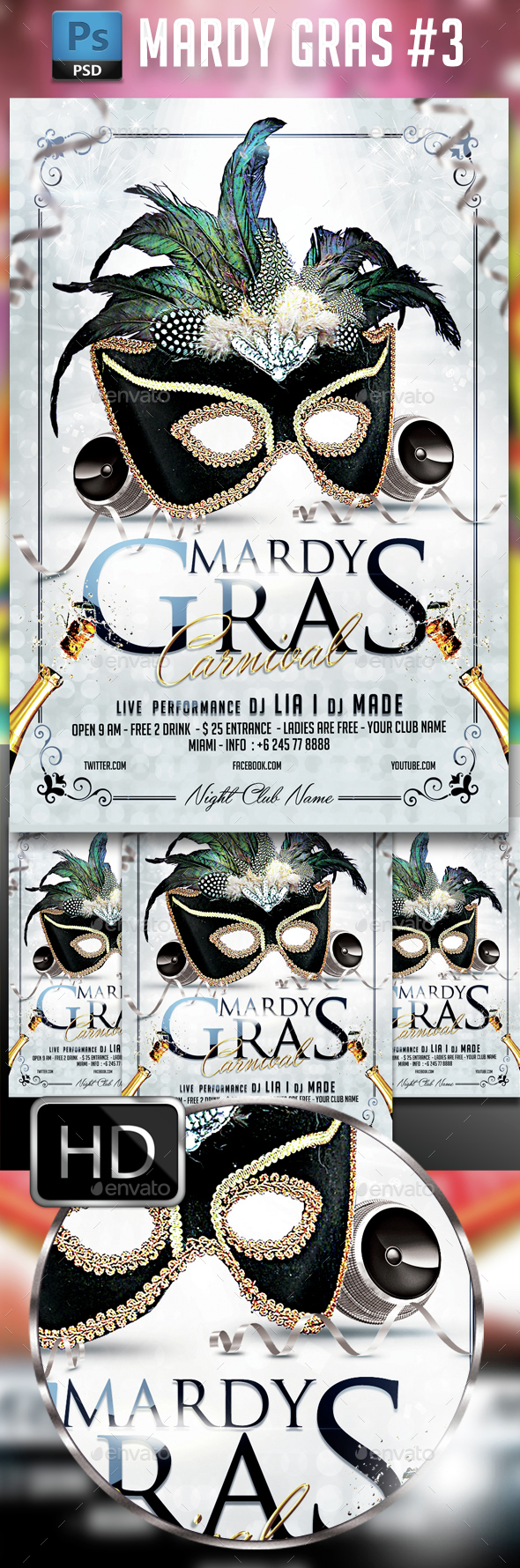 Mardy Gras Party #3 - Events Flyers