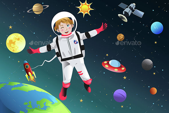 Girl Dressed Up as Astronaut - People Characters