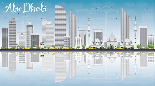 Abu Dhabi City Skyline with Gray Buildings, Blue Sky and Reflections.  - Buildings Objects
