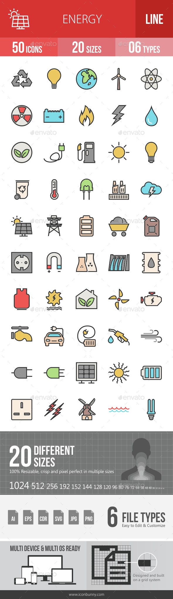 Energy Filled Line Icons - Icons