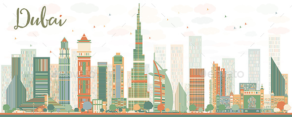 Abstract Dubai City Skyline with Color Skyscrapers. - Buildings Objects