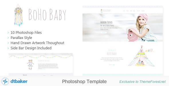 BoHo Baby - Hand Drawn Photoshop Template