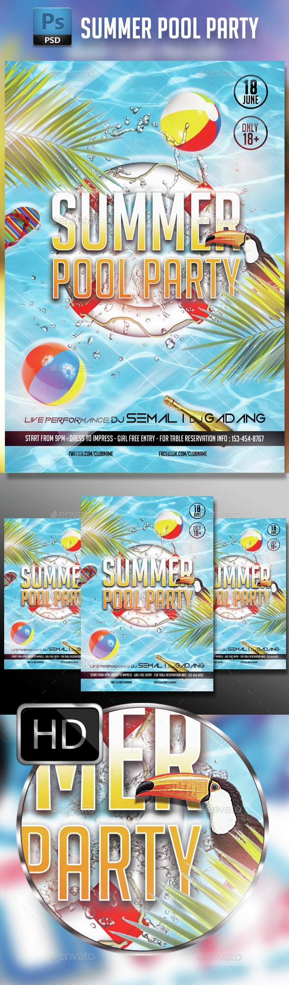 Summer Pool Party - Events Flyers