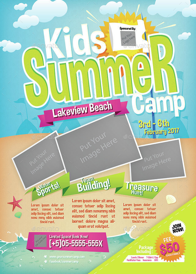 kids summer camp flyer by shamcanggih graphicriver. Black Bedroom Furniture Sets. Home Design Ideas