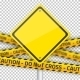 Vector Road Yellow Sign With Yellow Police Strip - GraphicRiver Item for Sale