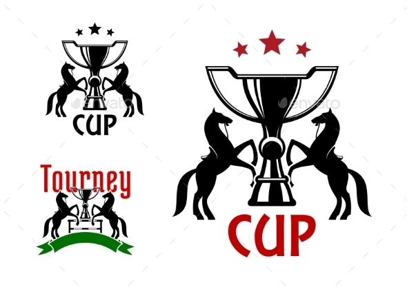 Equestrian Sport Icons With Horses And Trophies - Sports/Activity Conceptual
