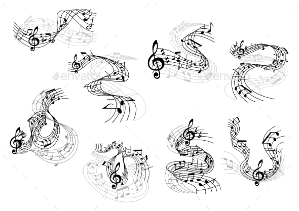 Musical Notes And Treble Clefs On Wavy Staves - Conceptual Vectors
