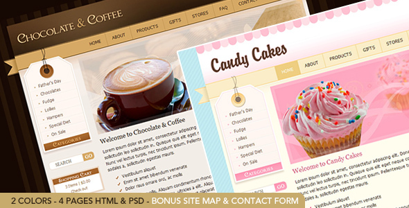 Chocolate & Coffee – HTML Template including PSD