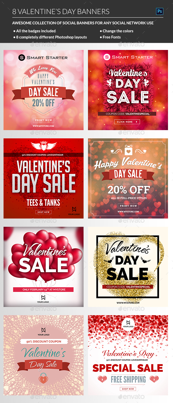 Valentine Day Banners - Banners & Ads Web Elements
