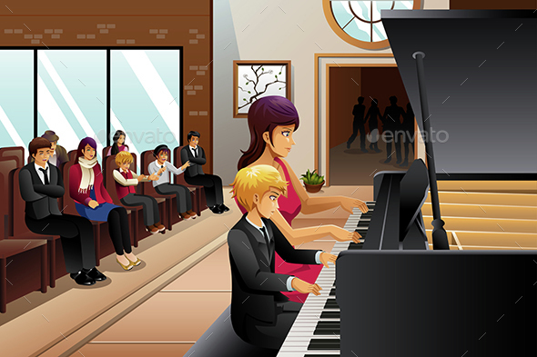 Boy in Piano Recital - People Characters