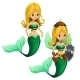 Two Fighting Blonde Mermaid With a Green Tail