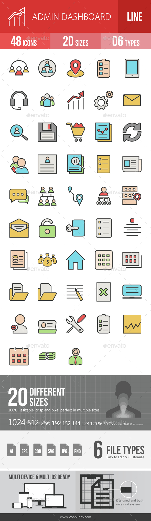 Admin Dashboard Filled Line Icons - Icons