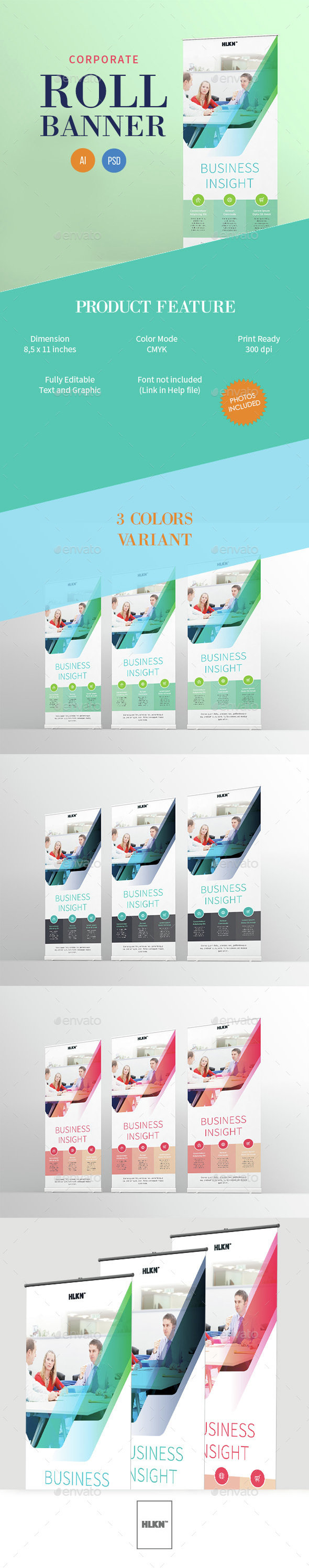 Clean Corporate Roll Banner - Signage Print Templates
