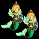 Two Fighting Blonde Mermaid On a Black Background