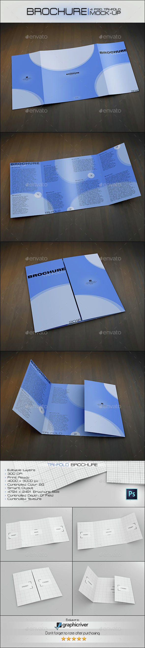 Trifold Brochure - Product Mock-Ups Graphics