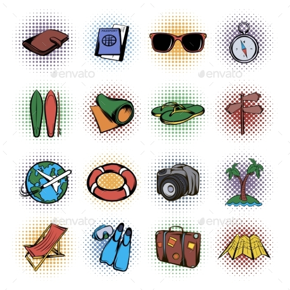Travel Comics Icons Set - Miscellaneous Icons