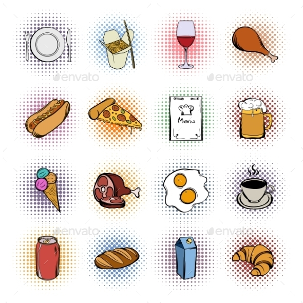 Food Comics Icons Set  - Miscellaneous Icons