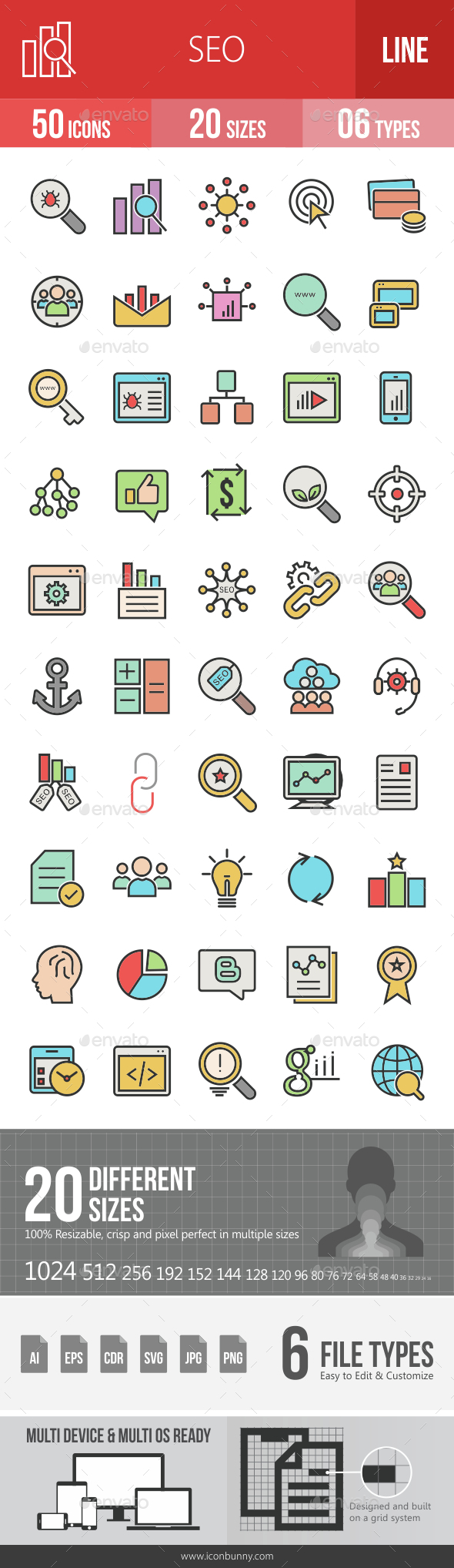 SEO Filled Line Icons - Icons