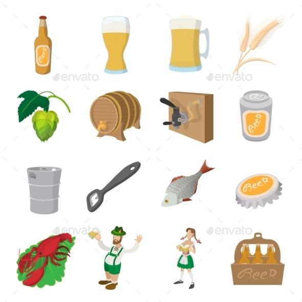 Oktoberfest Beer Cartoon Icons Set - Miscellaneous Icons