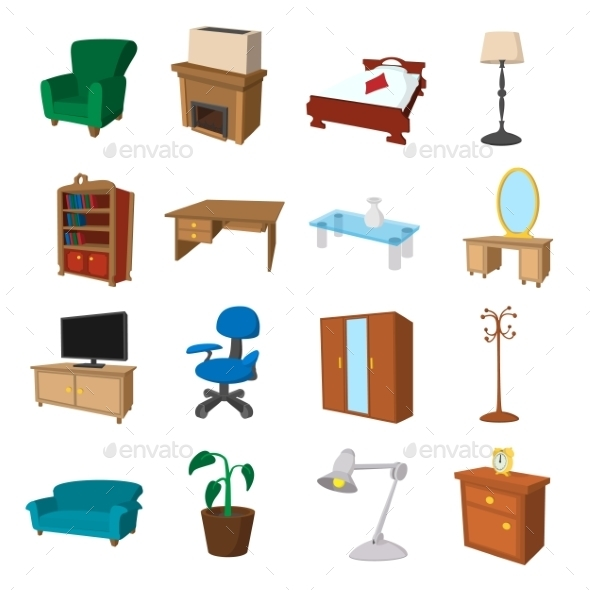 Furniture Cartoon Icons Set - Miscellaneous Icons