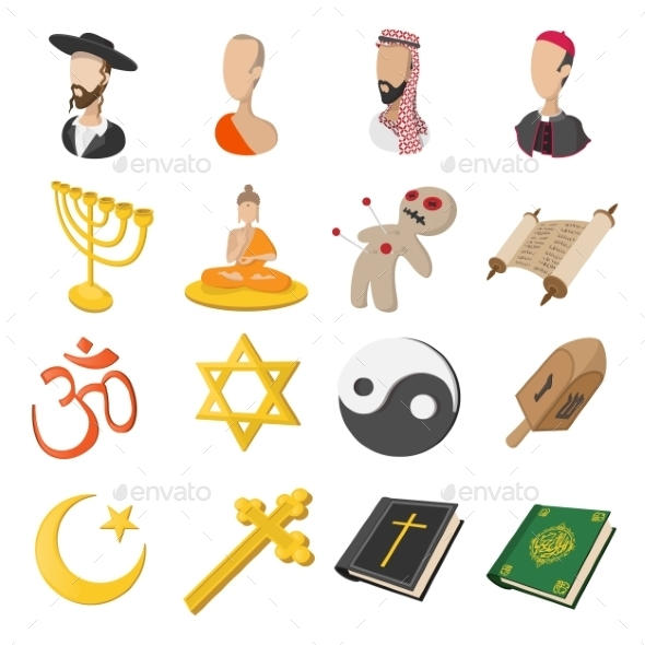 Different Religions Cartoon Icons Set - Miscellaneous Icons
