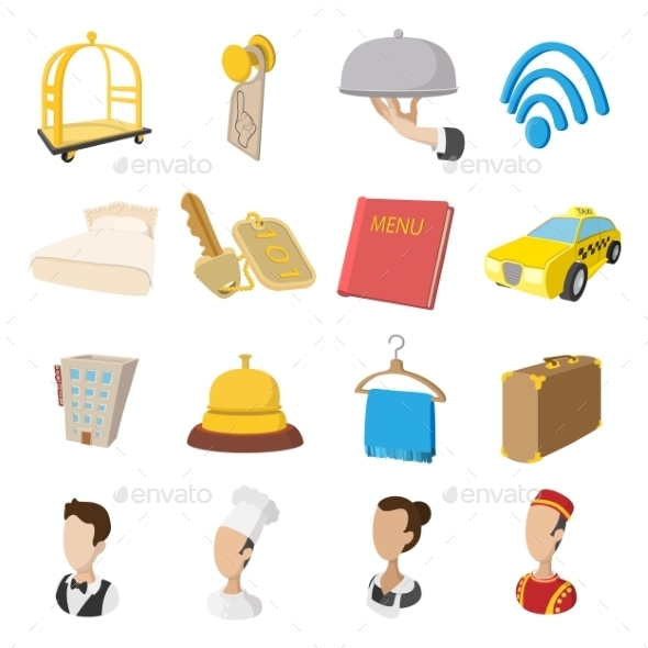 Hotel Cartoon Style Icons Set - Miscellaneous Icons