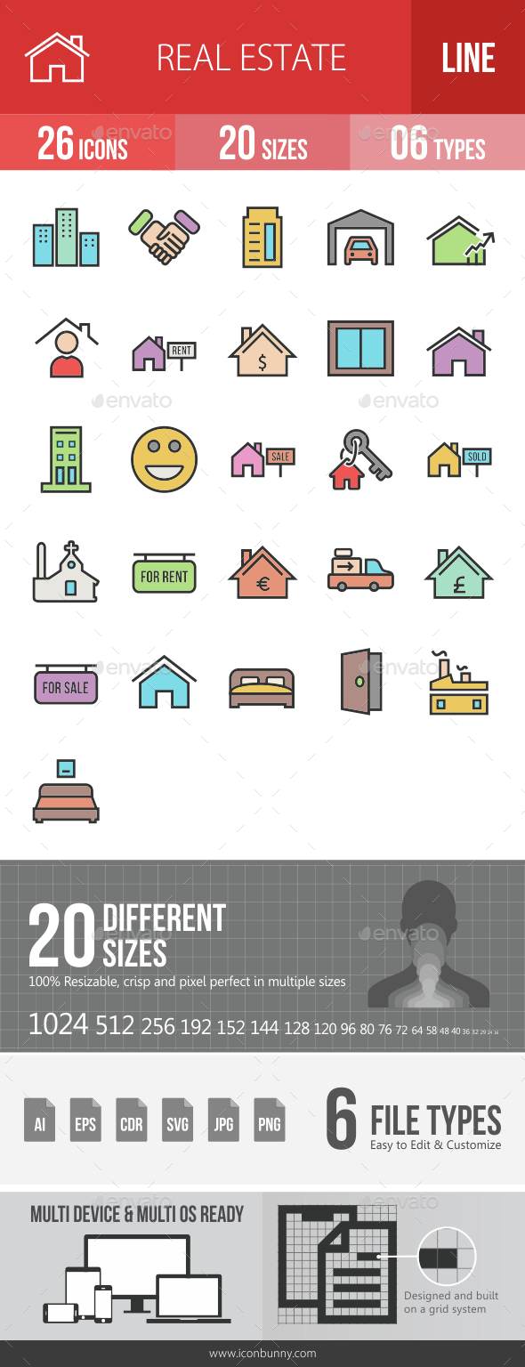Real Estate Filled Line Icons - Icons