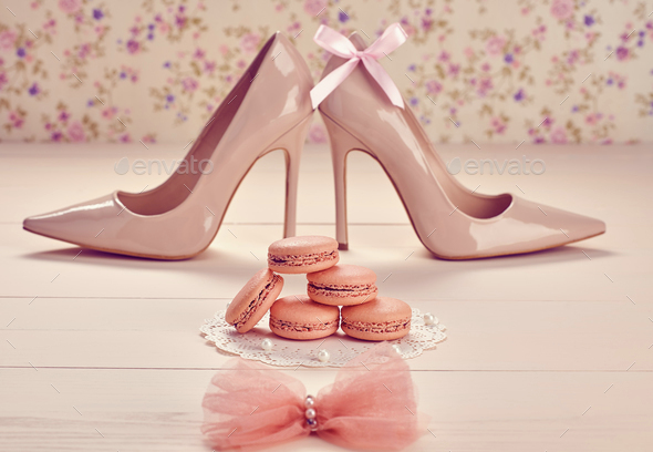 Macarons, high heels - Stock Photo - Images