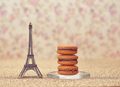 Macarons french dessert. Eiffel Tower on gold - PhotoDune Item for Sale