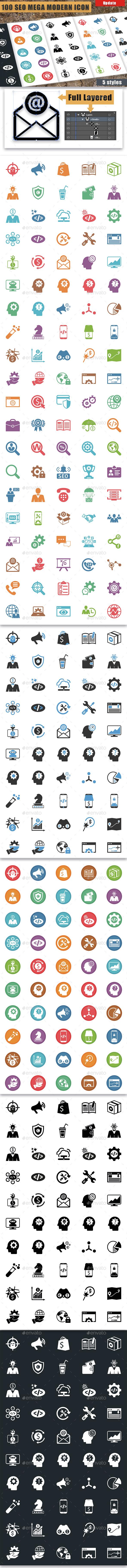 100 Seo Mega Modern Icons v2.0 - Business Icons