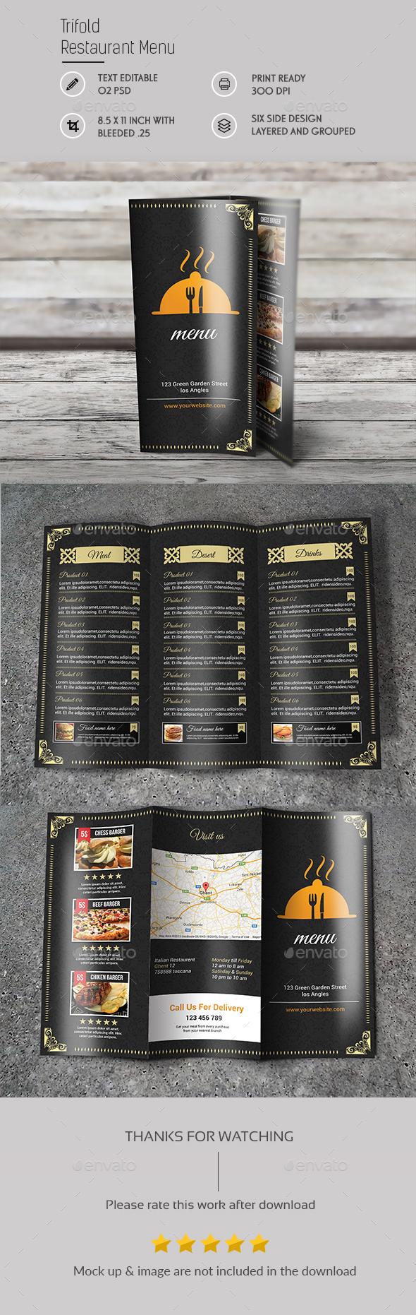 Tri Fold Restaurant BrochureTemplate - Brochures Print Templates