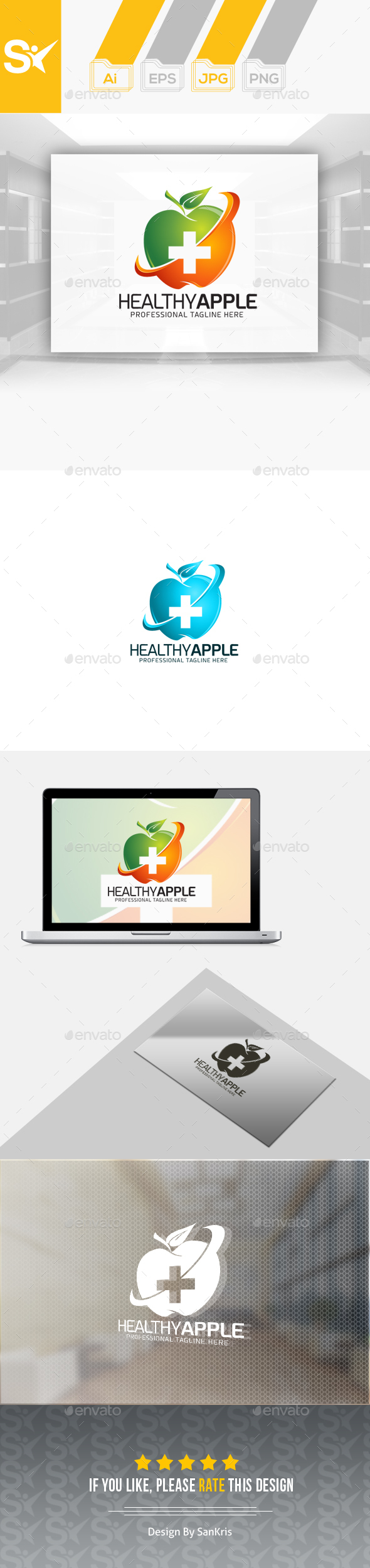 Apple For Health - Food Logo Templates