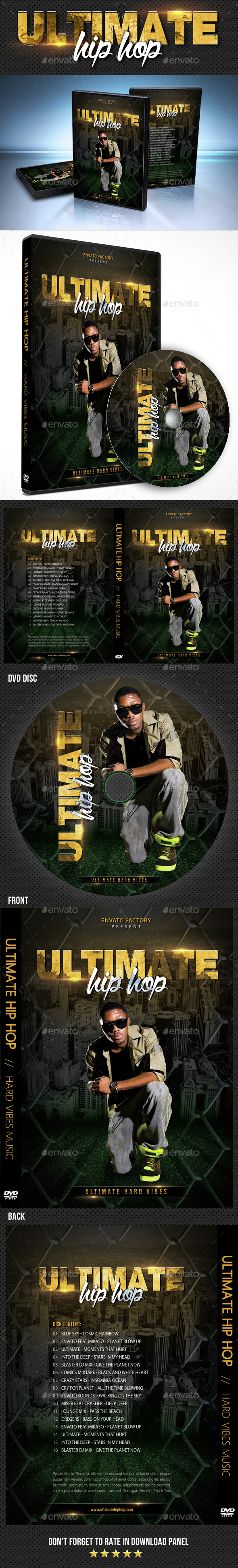 Hip Hop Ultimate Vibes DVD Cover Template - CD & DVD Artwork Print Templates