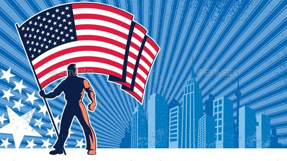 Flag Bearer USA Background - Backgrounds Decorative