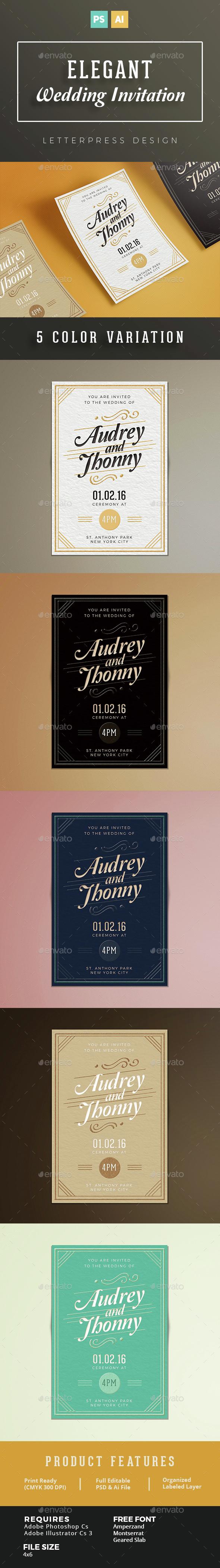 Elegant Wedding Invitation - Cards & Invites Print Templates