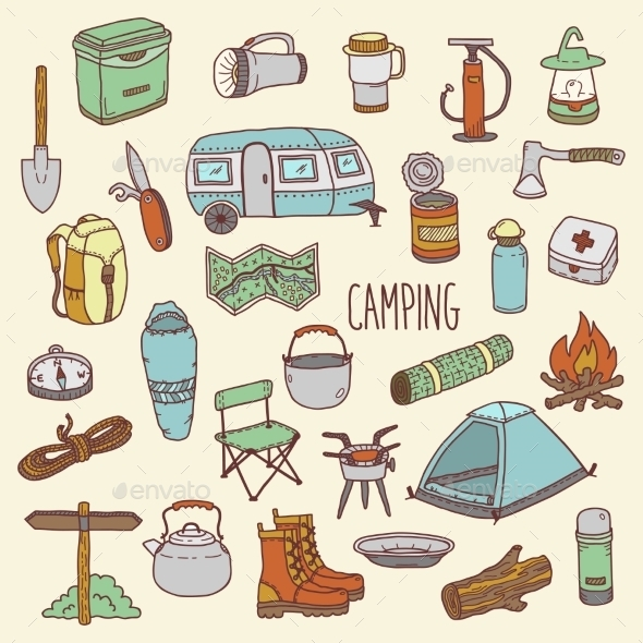 Camping Hand Drawn Colorful Icon Set - Travel Conceptual