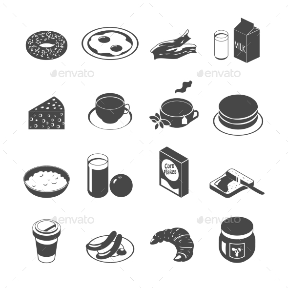 Breakfast Icon Set - Food Objects