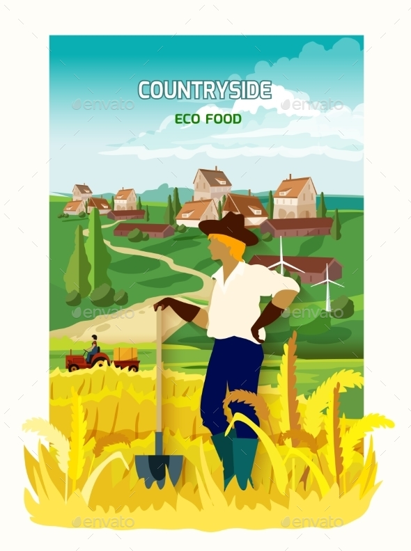 Farmer in The Countryside Background Poster - People Characters